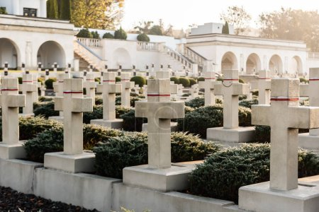 Photo for LVIV, UKRAINE - OCTOBER 23, 2019: polish graves with crosses and arch galleries in lychakiv cemetery in lviv, ukraine - Royalty Free Image
