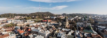 Photo for Horizontal image of lviv cityscape with dominican church and carmelite church - Royalty Free Image