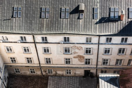 Photo for Aerial view of old house with mansard windows in lviv, ukraine - Royalty Free Image