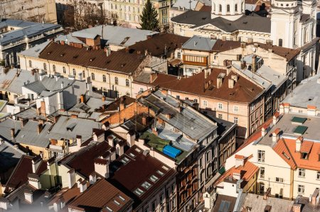 Photo for Aerial view of houses with colorful roofs in historical center of lviv, ukraine - Royalty Free Image