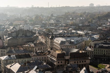 Photo for Aerial view of houses in historical center of lviv city, ukraine - Royalty Free Image