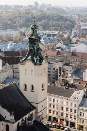 Photo for Aerial view of carmelite church and houses in historical center of lviv, ukraine - Royalty Free Image