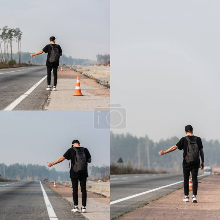 collage of man with backpack hitchhiking on highway in ukraine, back view