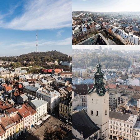 Photo pour Collage de carmélite église, place du marché et colline du château contre ciel bleu - image libre de droit