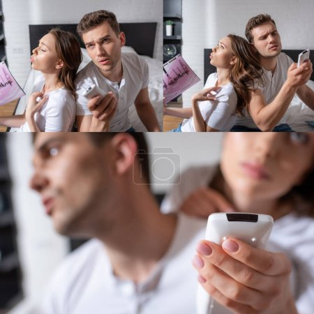 Photo pour Collage de femme tenant des magazines, se sentant chaud et utilisant la télécommande près du petit ami tout en refroidissant appartement - image libre de droit