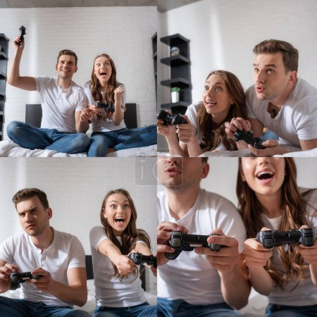 Photo for KYIV, UKRAINE - MAY 15, 2020: happy couple holding joysticks while playing video game in bedroom - Royalty Free Image