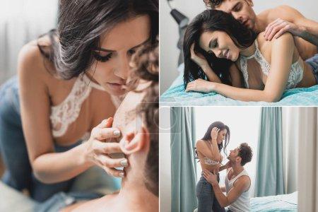 Photo pour Collage de bel homme embrassant femme souriante sensuelle dans la chambre - image libre de droit