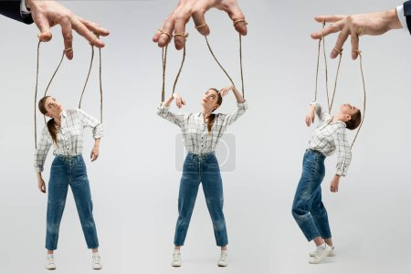 cropped view of puppeteer holding marionette on strings isolated on grey, collage