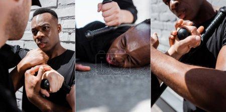 Photo pour Collage d'un homme afro-américain détenu couché sur le sol près d'un policier avec matraque, concept de racisme - image libre de droit