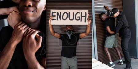Photo for Collage of policeman choking and arresting african american man, placard with enough lettering as protest, racism concept - Royalty Free Image