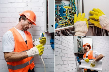 Photo for Collage of handsome electrician holding blueprint and fixing wiring near electrical distribution box - Royalty Free Image