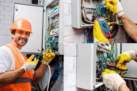 Photo for Collage of smiling electrician fixing electric panel and checking voltage with multimeter - Royalty Free Image
