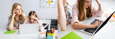 Photo pour Collage d'une mère et d'une fille chères utilisant un ordinateur portable près de la papeterie pendant l'éducation en ligne à la maison - image libre de droit