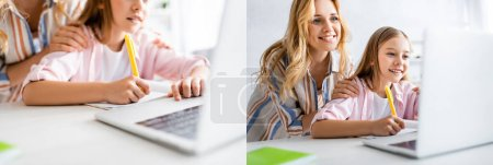 Photo pour Collage de mère souriante embrassant fille pendant l'éducation en ligne - image libre de droit