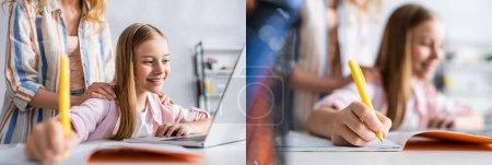 Photo pour Collage de mère embrassant enfant souriant pendant l'éducation en ligne à la maison - image libre de droit