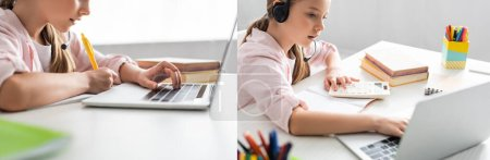 Photo for Collage of child writing on notebook and using headset with laptop at table - Royalty Free Image