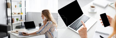 Photo pour Collage de jolie pigiste à l'aide de gadgets pendant la journée de travail - image libre de droit