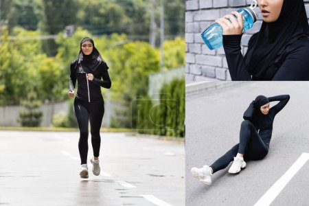 Photo for Collage of young muslim sportswoman in hijab holding sports bottle with water, jogging and exercising outside - Royalty Free Image