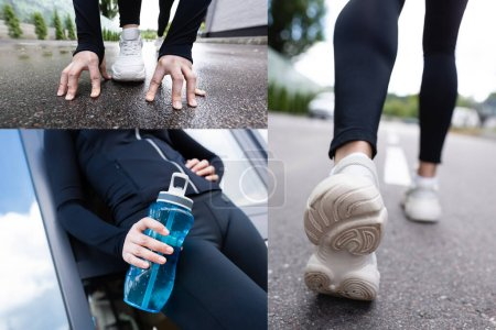 Photo for Collage of sportswoman holding sports bottle and exercising outside - Royalty Free Image