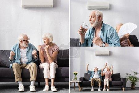 Photo pour Collage de personnes âgées positives et fatiguées assis sous le climatiseur sur le canapé - image libre de droit