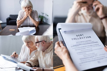 Collage of worried and sad senior couple talking on smartphone and holding papers with debt collection at home