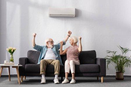 Photo pour Couple âgé excité montrant geste ouais sous climatiseur à la maison - image libre de droit