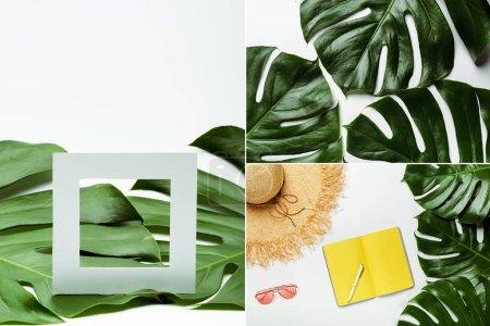 Photo pour Collage de feuilles de palmier vert, accessoires d'été et planificateur jaune sur fond blanc - image libre de droit