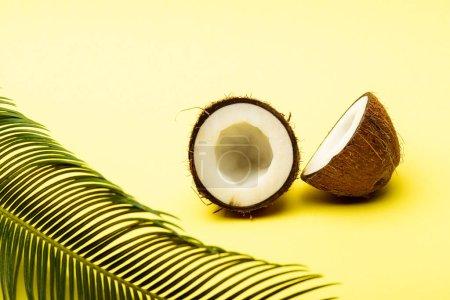 délicieuse noix de coco douce et feuille de palmier sur fond jaune