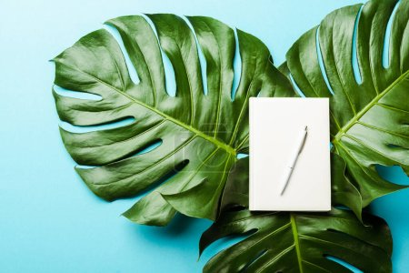 Photo for Top view of blank notepad with pen on green palm leaves on blue background - Royalty Free Image