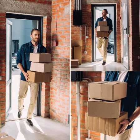 collage of handsome businessman holding carton boxes while moving in new office