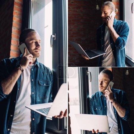 Photo pour Collage d'homme d'affaires barbu parlant sur smartphone et tenant ordinateur portable - image libre de droit
