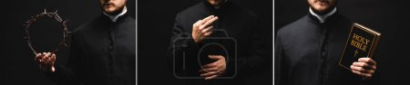 Photo for Collage of priest holding holy bible and wreath with spikes while praying isolated on black - Royalty Free Image
