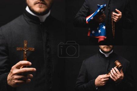 Photo pour Collage de prêtre tenant chapelet perles, drapeau américain, marteau et croix isolé sur noir - image libre de droit