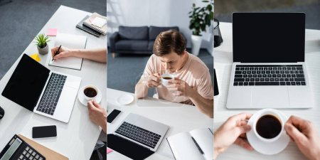 Photo for Collage of man holding cup and taking notes near stationery and smartphone on table, earning online concept - Royalty Free Image