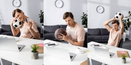 Photo for Collage of cheerful freelancer holding basketball and football balls and credit card near gadgets on table, earning online concept - Royalty Free Image
