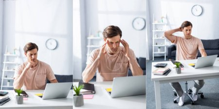 Photo for Collage of pensive freelancer using laptop near stationery and notebooks on table, concept of earning online - Royalty Free Image