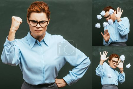 collage of angry teacher standing with hands on hips, and defending herself with outstretched hands from throws of crumpled paper