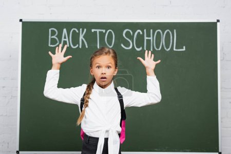shocked schoolgirl standing with raised hands near chalkboard with back to school inscription