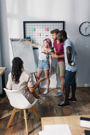 Selective focus of multiethnic business people working near whiteboard with charts in office
