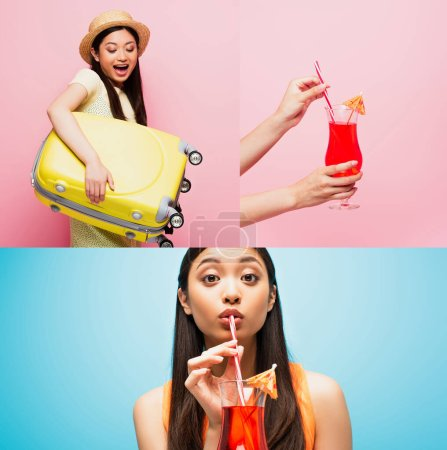 collage of asian girl holding luggage and drinking cocktail of blue and pink