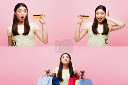 collage of emotional young asian woman holding credit cards and shopping bags isolated on pink