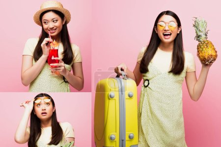 collage of happy asian girl holding baggage, fresh pineapple, cocktail and looking up on pink