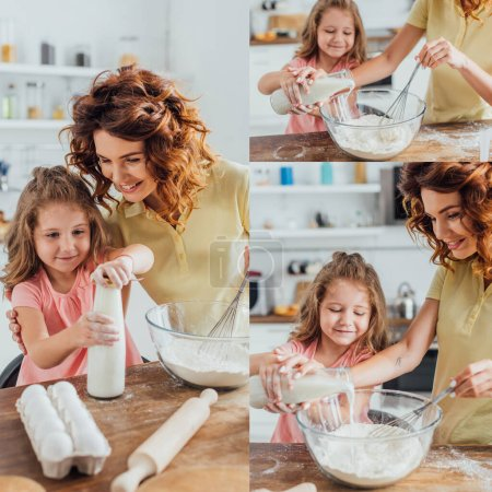 Photo for Collage of girl opening bottle and curly woman pouring milk into glass bowl with flour while kneading dough - Royalty Free Image