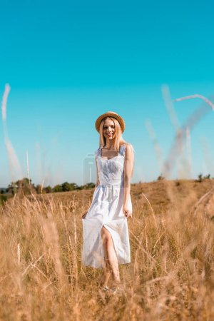 selective focus of sensual blonde woman in white dress and straw hat looking at camera while posing in grassland