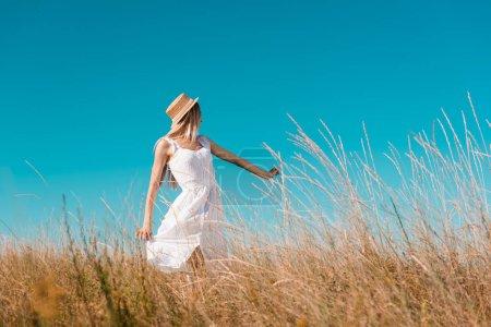 Photo pour Foyer sélectif de femme blonde en robe blanche et chapeau de paille montrant me suivre geste sur prairie herbeuse - image libre de droit