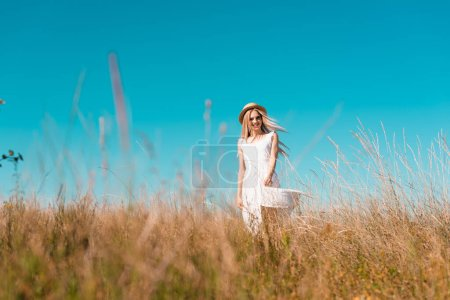 Photo for Selective focus of stylish woman in white dress and straw hat looking at camera in grassy meadow against blue sky - Royalty Free Image