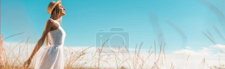 Photo for Selective focus of young woman in white dress and straw hat standing with outstretched hands against blue sky, panoramic shot - Royalty Free Image