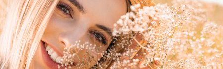 Photo for Portrait of sensual blonde woman looking at camera near wildflowers, horizontal image - Royalty Free Image