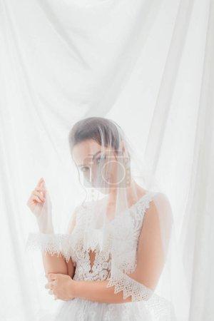 Photo pour Mariée en robe de mariée et voile regardant la caméra près de tissu blanc - image libre de droit
