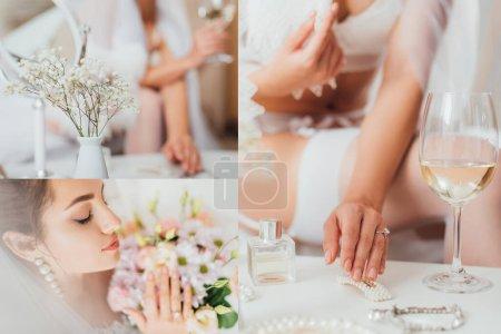 Foto de Collage de novia sosteniendo ramo y tocando horquilla cerca de copa de vino y perfume en la mesa de café - Imagen libre de derechos